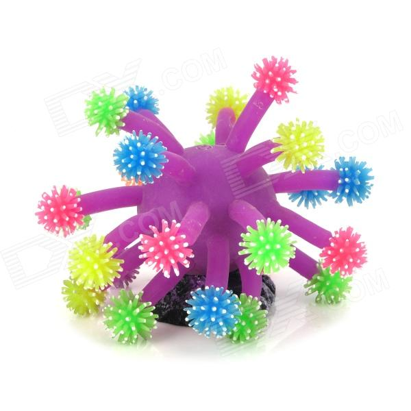 ZEAFZ1G Fish Tank Vivid Decoration Sea Urchin - Purple + Colorful Tentacle