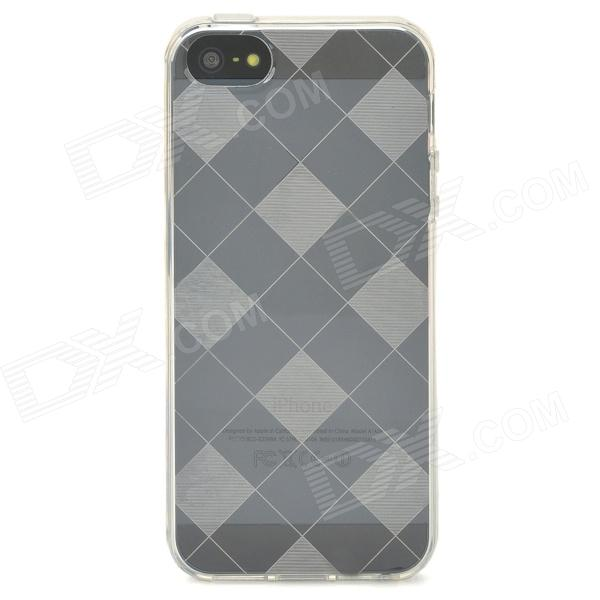 Stylish Checked Style Protective Back Case for Iphone 5 - Translucent White stylish protective silicone back case for iphone 5c grey