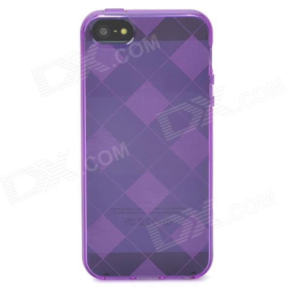 Stylish Checked Style Protective Back Case for Iphone 5 - Translucent Purple