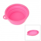 Stylish Foldable Silicone Pet Dog Cat Travel Food Water Feeder Bowl - Pink