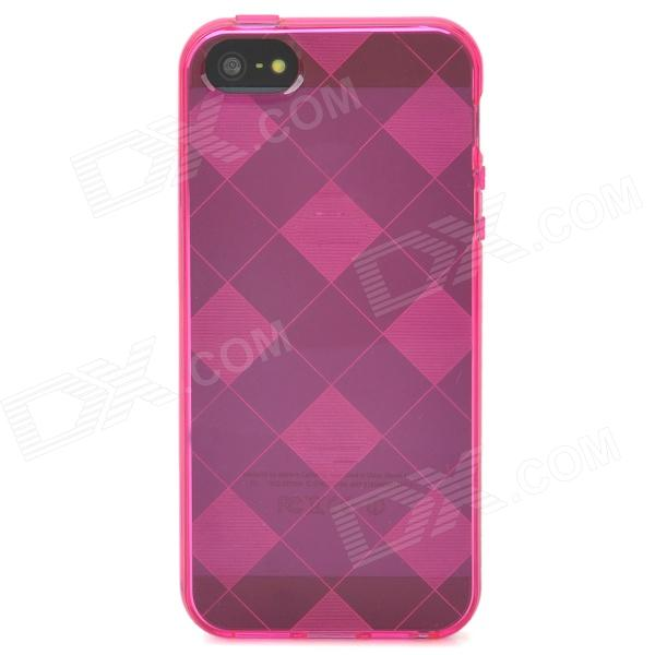 Stylish Checked Style Protective Back Case for Iphone 5 - Translucent Deep Pink stylish protective silicone back case for iphone 5c grey