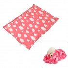 Keep Warm Pet Dog Cat Fleece Cover Blanket - Pink + White