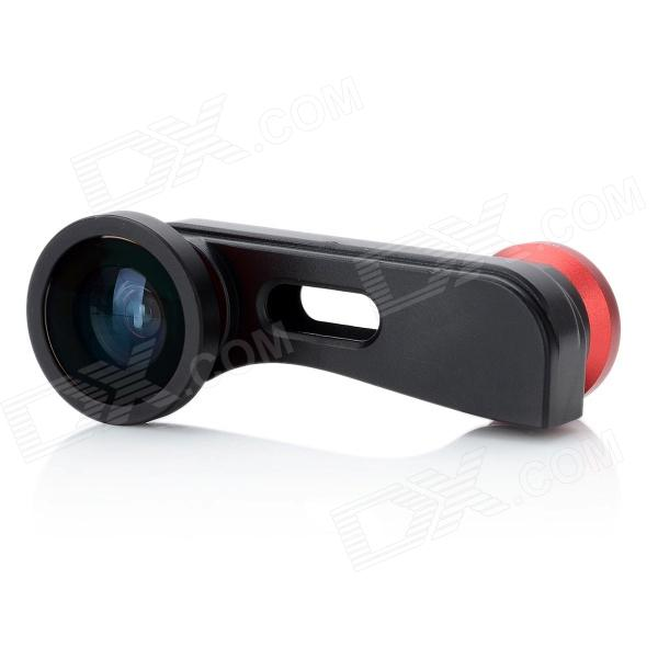 HSJT006 3-in-1 Fish eye + Microscope + Wide Angle Lens for Iphone 5 - Red + Black
