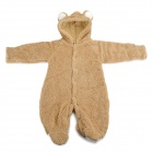 Cute Rabbit Style Polar Fleece Conjoined Garment for Baby - Light Brown