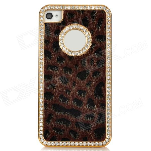 Cool Leopard Style Protective Back Case for Iphone 4 - Brown + Black + Golden stylish leopard style protective plastic back case for iphone 4 4s pink