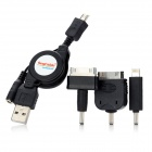 Retractable USB Charging Data Cable w/ Adapters for iPhone + Samsung + More - Black