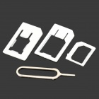 Nano to Micro + Nano SIM Adapter + Micro SIM Adapter w/ Eject Tool for Iphone 5 - White