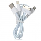 3-in-1 USB-Stecker an 8 Pin Blitz + 30 Pin Blitz + Micro USB Charging Data Cable - Weiß (72cm)