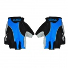 NUCKILY Outdoor Cycling Riding Half Finger Men's Gloves - Black + Blue (XL-Size / Pair)