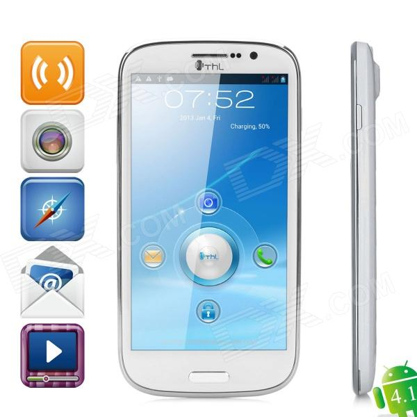 THL W8 Android 4.1 Quad-Core Bar Phone w/ 5.0″ Capacitive Screen, Wi-Fi, GPS and Dual-SIM – White