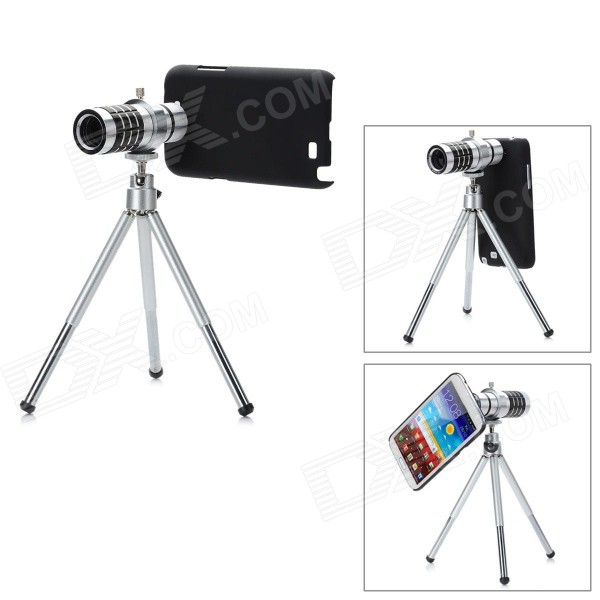 12X Zoom Telescope Lens w/ Tripod / Back Case for Samsung Galaxy Note 2 N7100 - Black + Silver replacement back camera circle lens for samsung galaxy s5 g900 black