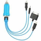 Car Charger + USB to Apple 30-Pin / Nokia 2.0mm / Micro USB / Mini USB Charging Cable Set - Blue