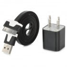 USB Male to 30 Pin Charging Cable w/ AC Charger for iPhone 4 / 4S - Black + White (US Plug / 100CM)