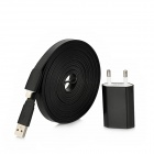 AC Charging Adapter + USB Daten / Ladekabel 8-Pin Lightning Flat-Kabel für iPhone 5 - Black (EU Plug)
