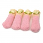 Creative Soft Knitting Wool Tablet Mats - Light Pink + Light Yellow (4 PCS)