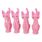 Cute Cat Shape PP Clothes Clip - Pink (4 PCS)