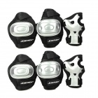 JOEREX PR21626 Outdoor Sports Hand Protector + Elbow Guard + Knee Guard Set - Black + Silver (6 PCS)