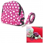 Polka Dot Pet Dog Satchel Bag w / Leash - Red + Black + White (Large Size)