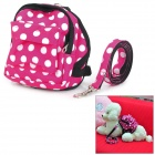 Polka Dot Pet Dog Satchel Bag w / Leash - Red + Black + White (Medium Size)