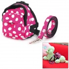 Polka Dot Pet Dog Satchel Bag w / Leash - Red + Black + White (Small Size)