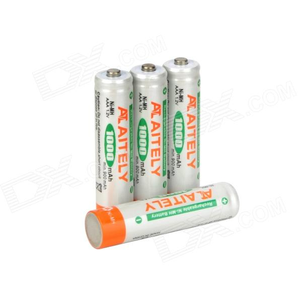 ATAITELY Rechargeable 1.2V 1000mAh Ni-MH AAA Batteries - White + Orange + Green (4 PCS) 8pcs pkcell battery aaa pre charged nimh 1 2v 1200mah ni mh 3a rechargeable batteries up to 1000mah capacity cycle 1200times