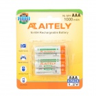 ATAITELY Rechargeable 1.2V 1000mAh Ni-MH AAA Batteries - White + Orange + Green (4 PCS)