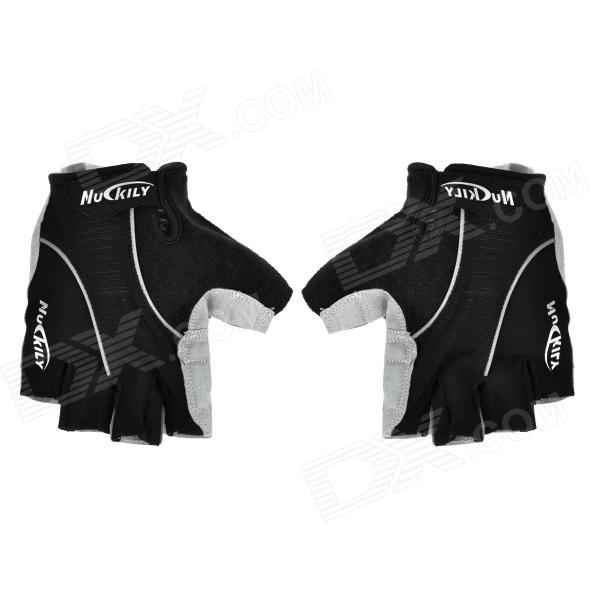 NUCKILY Cycling Bicycle / Bike Half-finger Gloves for Men - Black (Pair / Size L)