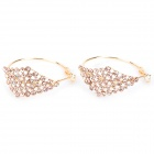 Rhombus Shaped Diamond Stud Earrings - Golden