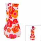 Flower Pattern Romantic Foldable PVC Flower Vase - Red + Pink + Orange (L-Size)