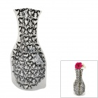 Heart Shape Pattern Romantic Foldable PVC Flower Vase - Black + Transparent (L-Size)