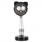 Cute Cat Style Spring Desktop Clock - Black + Silver