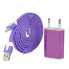 USB Male to 8 Pin Lightning Charging Cable w/ AC Charger - Purple + White (200CM / EU Plug)