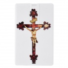 NST-U2219 Jesus Pattern Card Style USB Flash Drive - White + Brown (8GB)