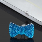 Crystal Bow Butterfly Style Anti Dust Plug for Iphone 4 / 4S - Light Blue