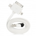 USB to Apple 30Pin + Micro 5Pin + Mini 5Pin Data & Charging Cable for iPhone 4 / 4S - White (100cm)