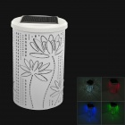 Solar Powered Lotus Style 1W 4-Color Changing LED Light Lamp - White
