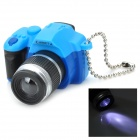 Mini DSLR Camera Style White Light LED Plastic Keychain - Blue + Black + Silver (3 x AG13)