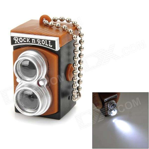 Mini Camera Style White Light Plastic Keychain - Brown + Black + Silver (3 x AG13)