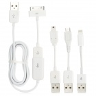 5-in-1 USB to Micro USB + Mini USB + 30 Pin + 8 Pin Lightning Cable w/ USB Extension Cable - White