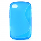 """S"" Style Protective TPU Back Case for BlackBerry Q10 - Translucent Blue"