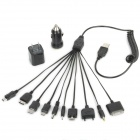 Retractable 10-in-1 USB to Micro USB + 30 Pin + More Charging Cable w/ US Plug Adapter + Car Charger