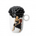 Explosion Hair Style Sexy Girl Pattern Color Changing Mug Cup - White + Black (101~200ml)