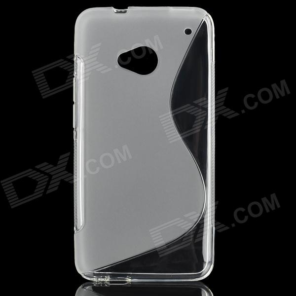 S Shape Protective TPU Back Case for HTC M7 - Translucent