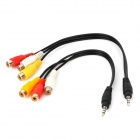 DC3.5 a 3RCA cable de audio - negro + blanco + rojo + amarillo (2PCS)