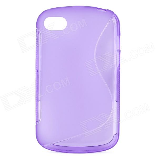 S Style Protective TPU Back Case for BlackBerry Q10 - Translucent Purple stylish s pattern protective tpu back case for htc one max t6 8088 809d purple