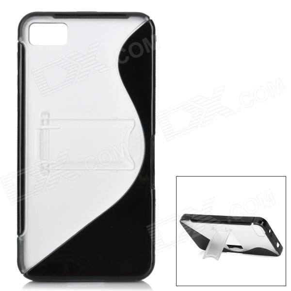 S Style Protective TPU Back Case for BlackBerry Z10 - Black + Translucent White protective silicone case for nds lite translucent white