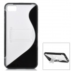 """S"" Style Protective TPU Case für BlackBerry Z10 - Black + Translucent White"