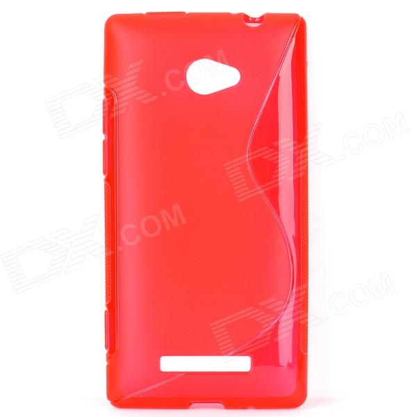 S Shape Protective TPU Back Case for HTC 8X - Translucent Red small holes style protective pe back case for htc one x s720e purple