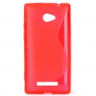 S Shape Protective TPU Back Case for HTC 8X - Translucent Red