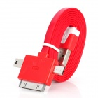 USB to Apple 30Pin / Micro 5Pin / USB 2.0 Data Cable for iPhone 4 / 4S / iPad - Deep Red + White